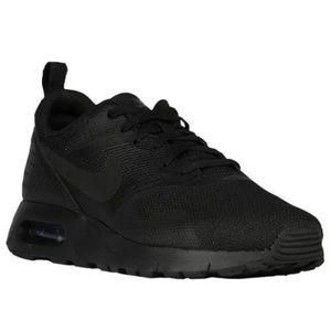 NEW Nike Air Max Tavas Triple Black Slip On Boys 2